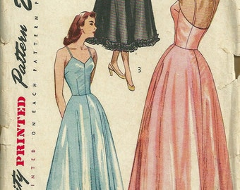 Simplicity 2423 1940s Misses Petticoat Slip Pattern 2 Lengths Sweetheart Neck Womens Vintage Sewing Pattern Size 16 Bust 34