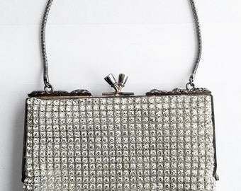 Glamorous Vintage Clear Crystal Rhinestone Evening Bag Purse Prong Set