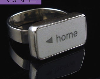 "SALE Computer Key Jewelry rePURPOSED Apple Mac ""home"" Key Sterling Ring - Size 5"
