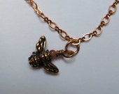 Copper anklet/bracelet with rose gold clasp and copper bee charm