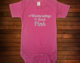 On Wednesdays We Rock Pink - One Piece Bodysuit - Funny Baby Gift