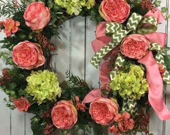 Spring Wreaths, Easter Wreath, Large Pink and Green Spring Wreath, Home Decor Flower Wreath, Everyday Wreath