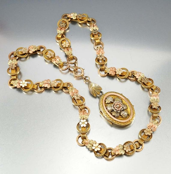 Book Chain Victorian Locket Necklace Yellow Rose Gold