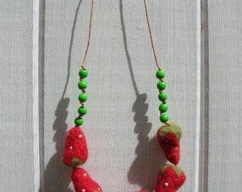 Strawberry Needle Felted Beaded Necklace