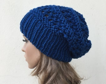Hand knit hat - Oversized Chunky Wool Hat, slouchy hat in blue