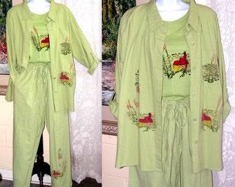 Vintage Suit Set - Jacket Pants T-Shirt Top - Green Cotton - Kaktus - Size L - Beach Shack Lighthouse