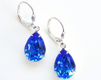 Vintage Sapphire Blue Crystal Drop Earrings  - Bridal Jewelry - Evening - created with SWAROVSKI® Crystals