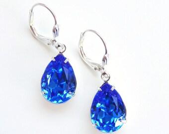 Vintage blue sapphire crystal earrings - sapphire earrings - Swarovski crystal - something blue - bridal earrings - bridesmaid earring