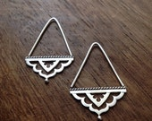 Meharaba hoop earrings - sterling silver triangle Indian threader earrings