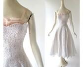 1950s White Dress / 50s Lace Dress / Wedding Dress / 1950s Dress / XXS