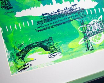 "THE FIVE BOROUGHS #05 | New York City illustrations, hand printed, blues and green, 11x14"" by Kathryn DiLego"