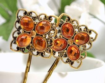 Autumn Bobby Pin Hair Pin Orange Bobbies Amber Hair Pins Orange Hair Slide