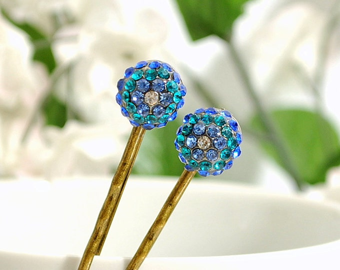 Blue Bobby Pin Crystal Hair Pin Blue Hair Clip Handmade Hair Pin for Sale