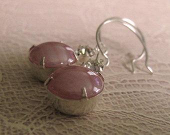Vintage Pink Earrings feminine earrings girly earrings dangle  drop earrings gift for her pale pink earrings vintage style crystal silver