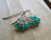 Green Onyx Clustered Bead Mini Hoop Earrings, Sterling Silver & Gemstone Dangle Earrings