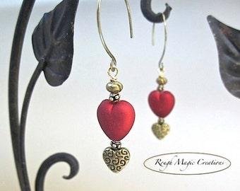 Ruby Red Hearts Renaissance Earrings, Antique Brass, Holiday Jewelry, Dangle Drop Earrings