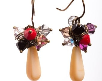 Antiqued Bronze Vintage Style Earrings With Czech Glass and Swarovski Crystals