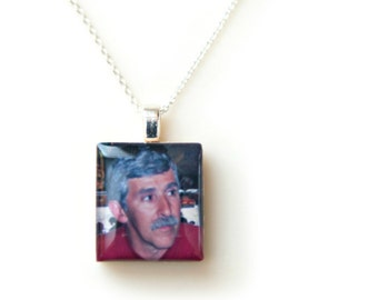 Dad Memorial Jewelry. Loss of Father. In Memory of Dad. Sympathy Gift. Custom Remembrance Pendant. Sympathy Gifts. Memorial Photo Necklace