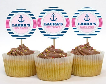 Personalized Anchor Nautical Baby Shower Cupcake Toppers – 2 Inch Circles – DIY Printable – Baby Girl (Digital File)