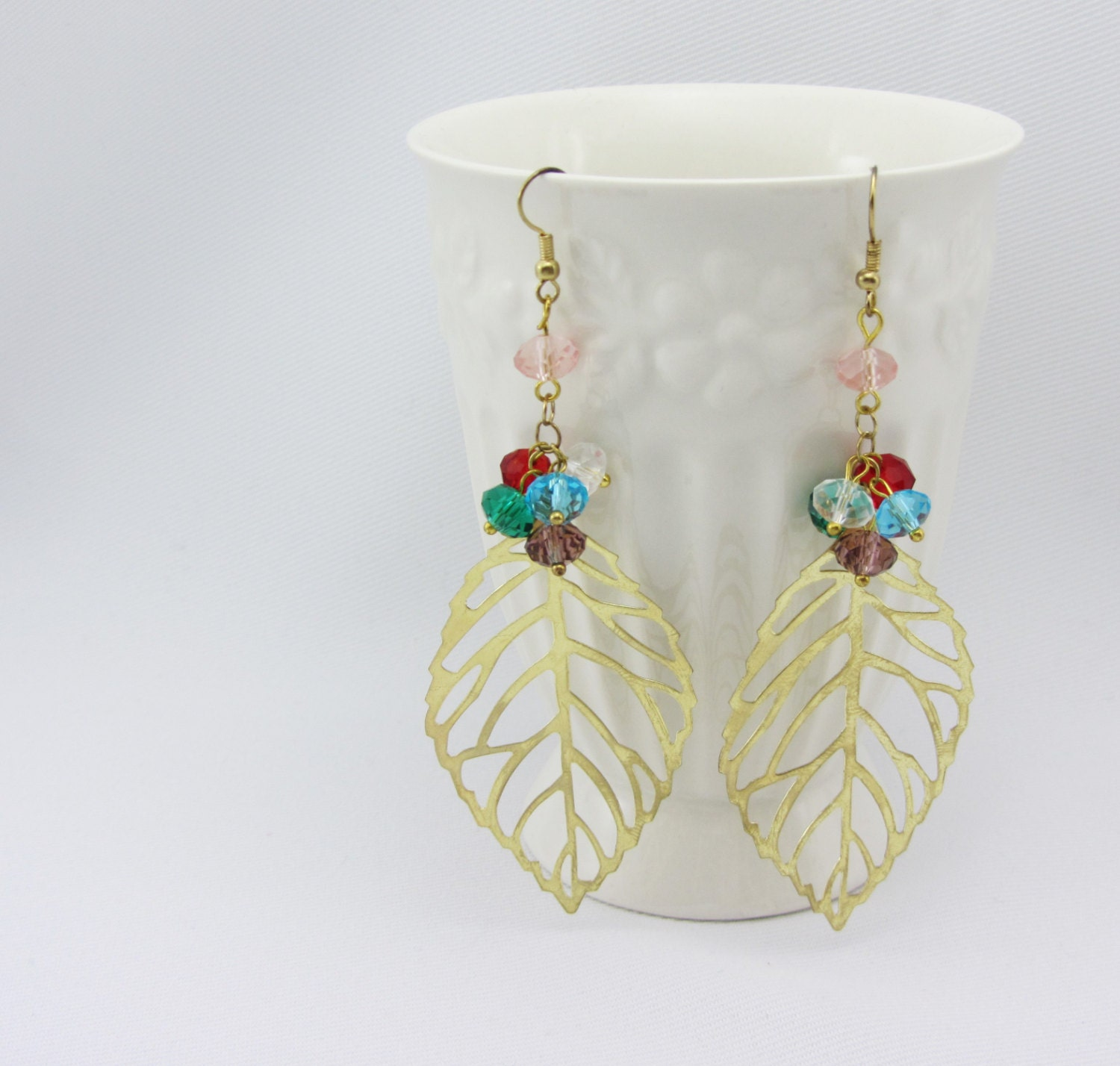 gold leaf filigree earrings with crystals