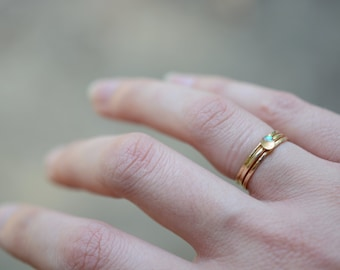 dainty rings, hammered, stacking rings, thin rings, simple rings, opal solitaire, trio, set