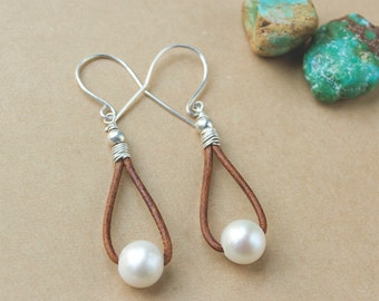 Pearl and Leather Earrings - Leather Hoop Earrings - Casual Earrings - Freshwater Pearl Earrings - Graduation Gift - Gift Under 25