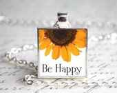 "Be Happy Sunflower Pendant Necklace 1"" Square LAST One"