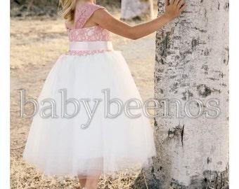 Lace Flower Girl Dress, Flower Girl Dress, Tulle Flower girl dress - MIRABELLE - Ivory Flower girl dress, Pink flower girl dress