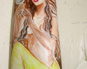 Brilliant Yellow Tail Brown hair Mermaid with Mirror- Hand Painted original  Mermaid Art on Drift wood