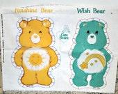 Care Bear Bears Fabric Panel Funshine & Wish Bear  Kawaii animal 80s doll crafts pillows applique purse bag