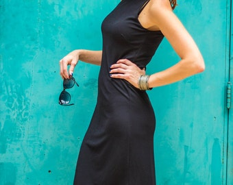 SALE 70 OFF Black knit tank dress, basic wardrobe dress