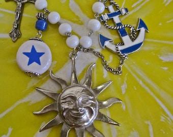 Good Morning Sunshine: Nautical Charm Necklace Silver Sun White Blue Vintage Assemblage Statement Sailing Anchor Sun Heart Cross Star OOAK