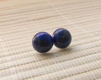 Lapis Denim Stud Sterling Silver Earrings 10mm