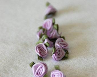 Satin ribbon rosebuds SMALL in lilac - packs of 10pc