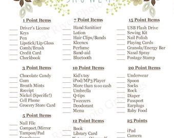 Instant Download - What's In Your Purse Baby Shower Game - Printable PDF