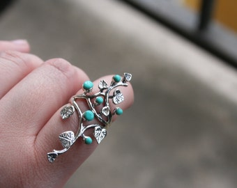 SELL OUT ...925  Native American Long   Sterling Silver bouquet with blue Turquoise stones   design  - STUNNING