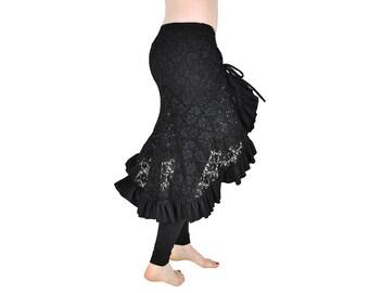Black Lace Milonga Skirt - Belly Dance, Latin Dance, Tango