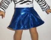American Made, Girl Doll Skirt, Dancewear, Gymnastics, Blue Shiny, Skater Skirt, 18 Inch Doll Clothes
