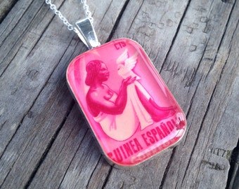 Spanish Guinea Postage Stamp Necklace