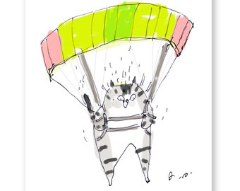 Funny Cat Card - Parachute Cat - Special Delivery