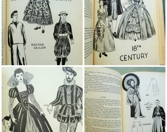 Costume Book for Parties and Plays,  Reference Book, Vintage Book, Clothing Reference, Joseph Leeming, Folk Costumes, Illustrated, 30s Book