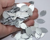 2 Hole Oval Stamping Blanks 10 Or More Leaf Pendant Blanks 18 Gauge Solid Brushed Aluminum 22.4mm x 13.8mm Discs Silver Toned Two 2mm Holes