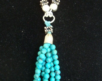 Tourquoise Tassel Necklace-One Of A Kind, Long Necklace