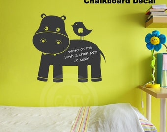 Chalkboard Cute Hippo Wall Decal Self Adhesive large vinyl lettering wall sticker kitchen mud room office