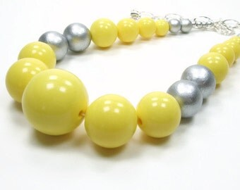 Racing Stripes Collection - Yellow Grey Large Beaded Necklace - Yellow Statement Necklace - Multicolor Bold Beaded Necklace Summer Season