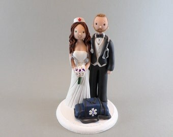 Nurse & EMT Personalized Wedding Cake Topper