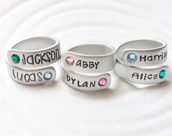 Birthstone Wrap Rings - Mother's Ring - Personalized Hand Stamped Rings - Mother's Ring - Mother's Jewelry - Gift for New Mom