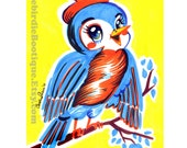 Bluebird Kitschy Art Print Illustration