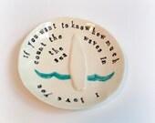 Surf ring dish engagement gift, beach wedding, baby gift handmade by Cathie Carlson