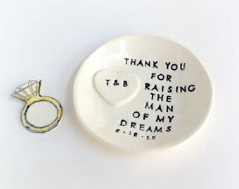 Personalized mother of groom wedding gift ring dish thank you for raising the man of my dreams handmade by Cathie Carlson